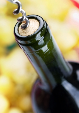 cork screw: Bottle of Wine closeup