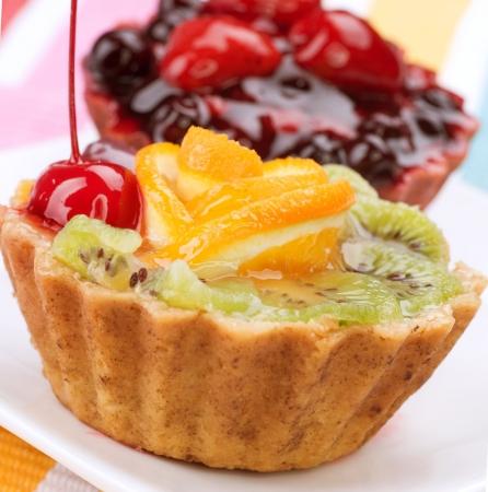 fruit jelly: Fruit Cake over white Stock Photo