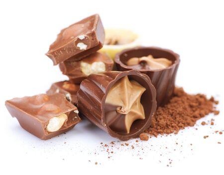 Chocolates over white photo