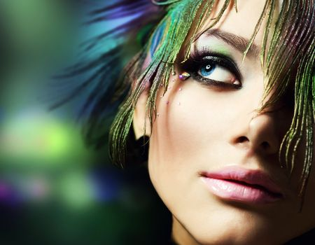 Beautiful Fashion Woman Face. Perfect Makeup  photo