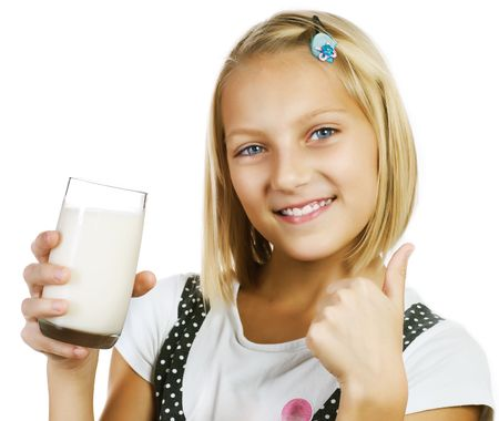 milk tooth: Girl Drinking Milk Stock Photo
