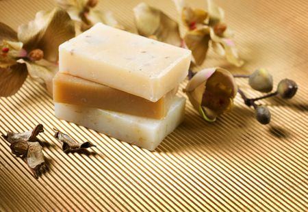 Handmade Soap border.Spa products photo