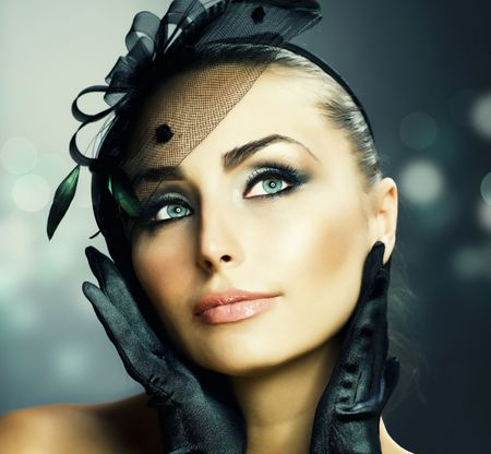 woman's: Womans Face.Vintage Makeup.Retro Style