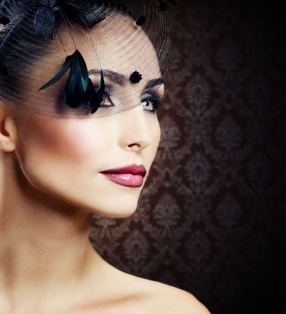 blue eyes girl: Womans Face.Vintage Makeup.Retro Style