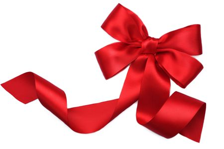 Red satin Geschenk Bogen. Ribbon. Isolated on white