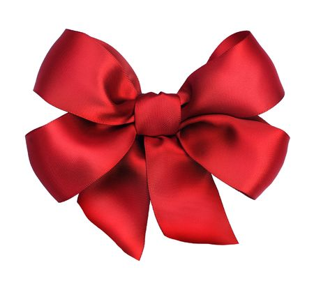 Red satin gift bow. Ribbon. Isolated on white photo