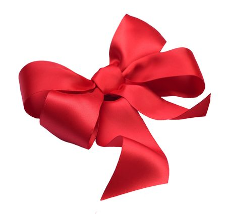 corner ribbon: Red satin gift bow. Ribbon. Isolated on white Stock Photo