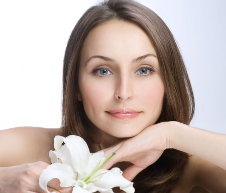 womans: Beautiful Womans Face Stock Photo