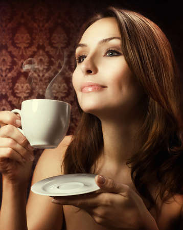 Beautiful Woman Drinking Coffee Stock Photo - 8381232
