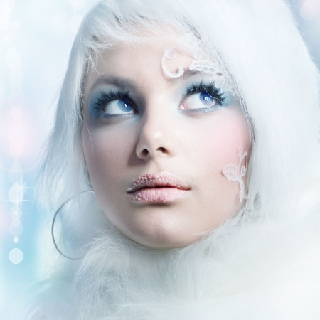 fantasy girl: Winter Beauty.High-key Fashion Art.Perfect makeup