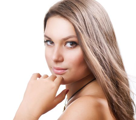 Beautiful Girl with long hair. Portrait over white.Perfect Skin Stock Photo - 8381131