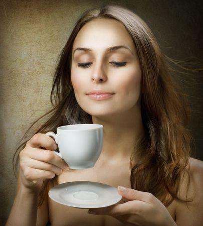 Beautiful Woman Drinking Coffee Stock Photo - 8381049