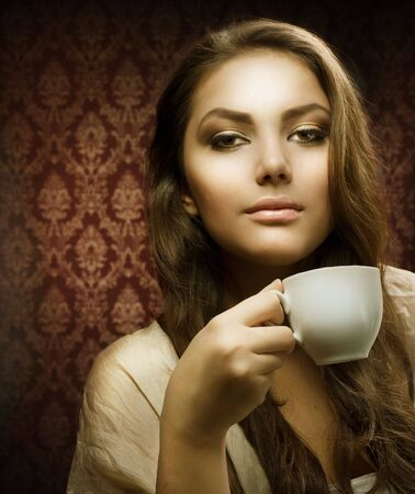 Beauty with cup of Coffee Stock Photo - 8253216