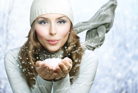 by blowing: Winter Beauty Blowing Snow Stock Photo