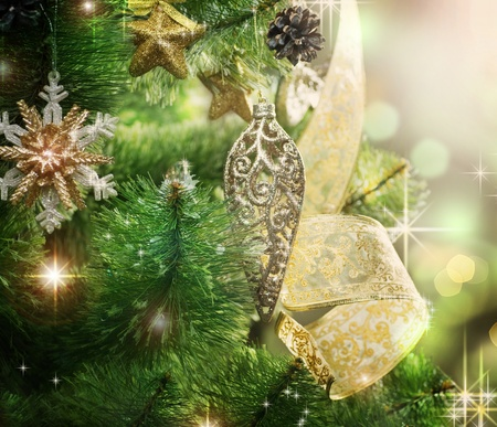bright decoration color: Christmas Tree with Decoration