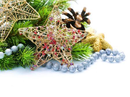 Christmas Decoration Border design isolated on white Stock Photo - 8374902