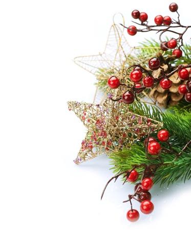 Christmas Decoration Border design isolated on white photo