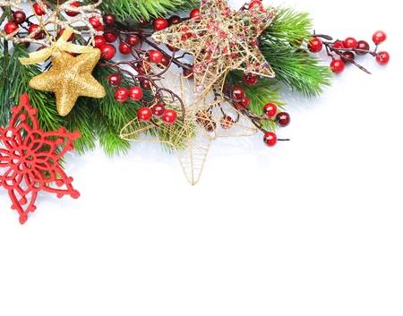 christmas border: Christmas Decoration Border design isolated on white