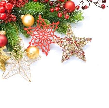 glass ball: Christmas Decoration border design Stock Photo
