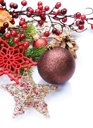 pascuas navideÑas: Diseño de frontera de decoración de Navidad Foto de archivo