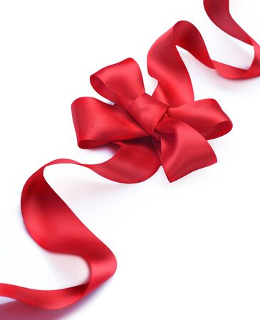 Red satin gift bow. Ribbon. Isolated on white Stock Photo - 8375014