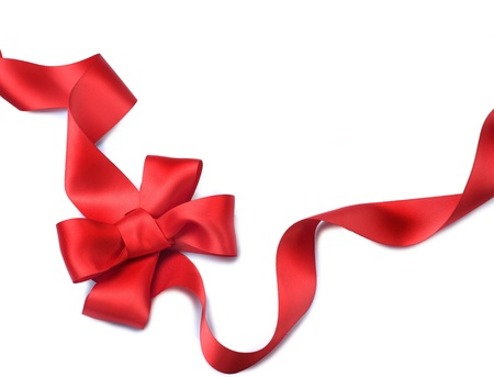 Red satin gift bow. Ribbon. Isolated on white Stock Photo - 8375019