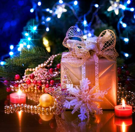 Christmas and New Year Decoration over black Stock Photo - 9357809