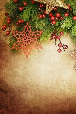 verticales: Tarjeta de felicitaci�n de Navidad Vintage con espacio de copia  Foto de archivo