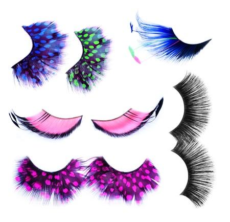 False Eyelashes set over white. Make-up Concept.