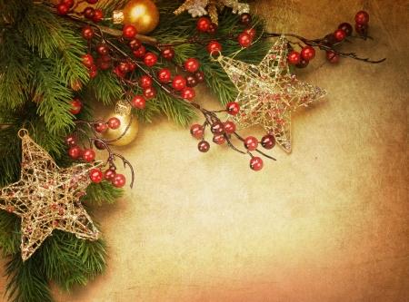 christmas berries: Auguri di Natale con spazio copia Vintage