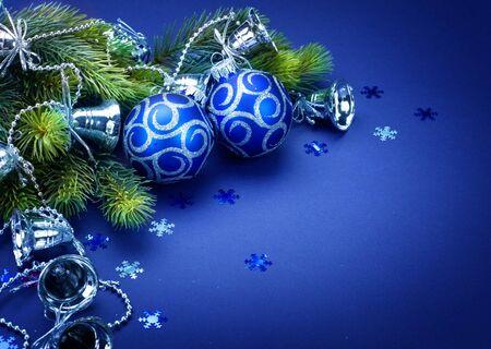 blue balls: Christmas decoration border design