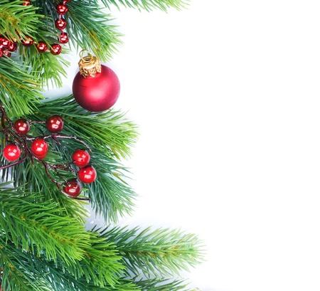 Christmas Border Decorations over white Stock Photo - 9357957