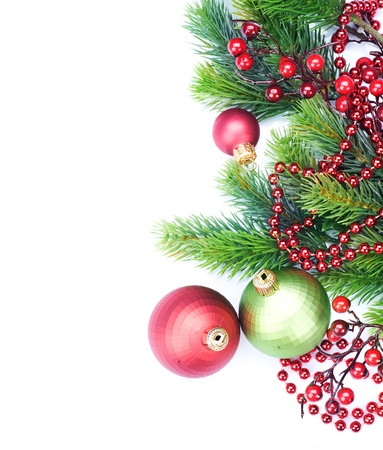 christmas backgrounds: Christmas Border Decorations over white
