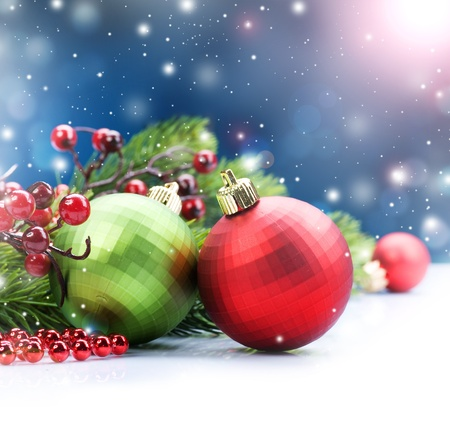 Christmas Decorations over Snow Stock Photo - 9357962