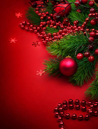 Christmas and New Year Decoration over Red photo