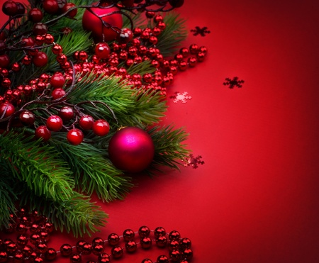 Christmas and New Year Decoration over Red Stock Photo - 9358071
