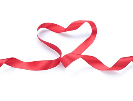 Valentine Heart.Red satin gift Ribbon. Isolated on white Stock Photo - 9082684