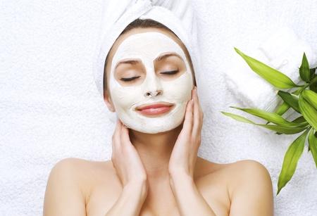 facial care: Spa facial clay mask Stock Photo