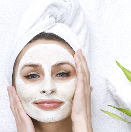 facial mask: Spa facial clay mask Stock Photo