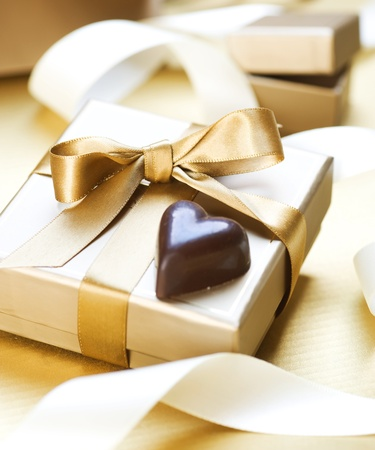 pretty s shiny: Valentine Gift.Chocolate heart shaped Stock Photo