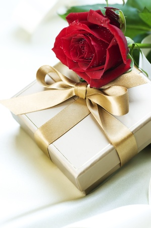 Gift and red Rose photo