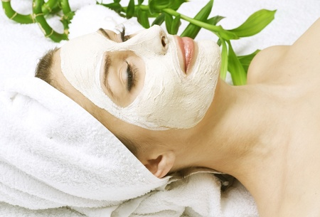 mascarilla facial: Concepto de spa mask.dayspa facial