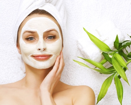 facial spa: Spa facial clay mask Stock Photo