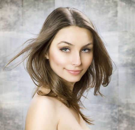 Beauty Portrait with perfect skin and healthy hair photo