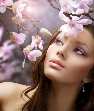Beautiful Spring Girl with flowers Stock Photo - 8720690
