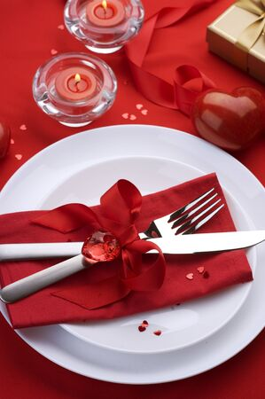 valentine married: Romantic Dinner concept.Cutlery Stock Photo