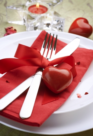 saint valentines: Valentine Table Setting place.Romantic dinner concept Stock Photo