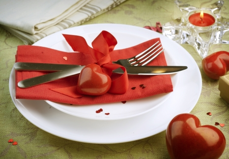dinner dish: Valentine Table Setting place.Romantic dinner concept Stock Photo