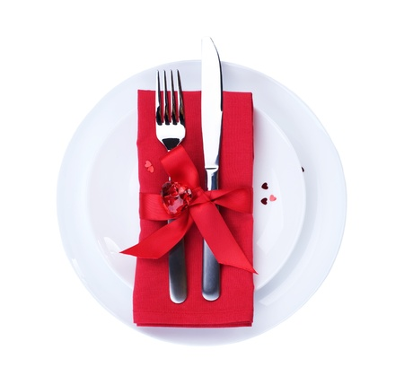 dinner dish: Valentines Romantic Dinner concept.Cutlery
