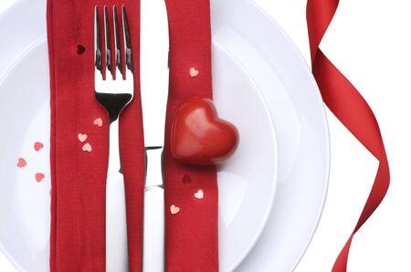 legen: Valentine Table Setting Platz.Romantisches Abendessen-Konzept